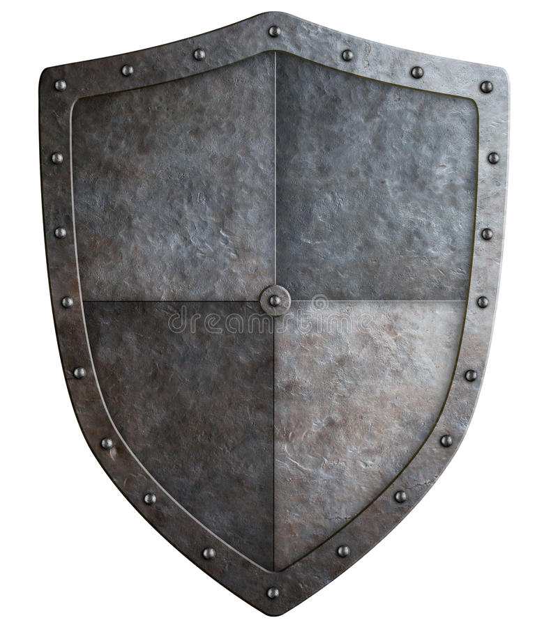 Medieval shield or coat of arms 3d illustration isolated. Medieval coat of arms or shield isolated on white 3d illustration stock photography