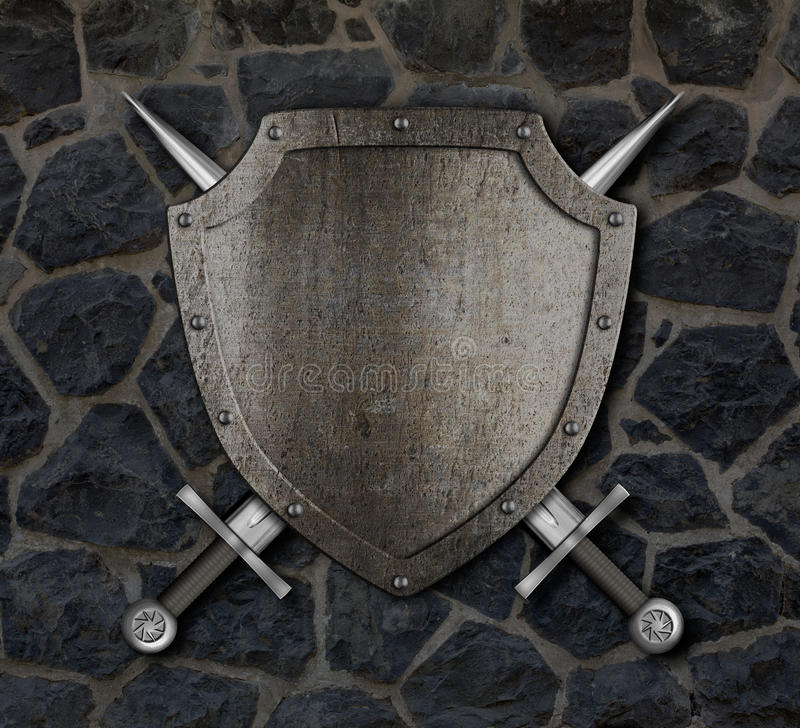 Medieval shield and crossed swords on wall. Medieval shield and crossed swords on stone wall stock photo