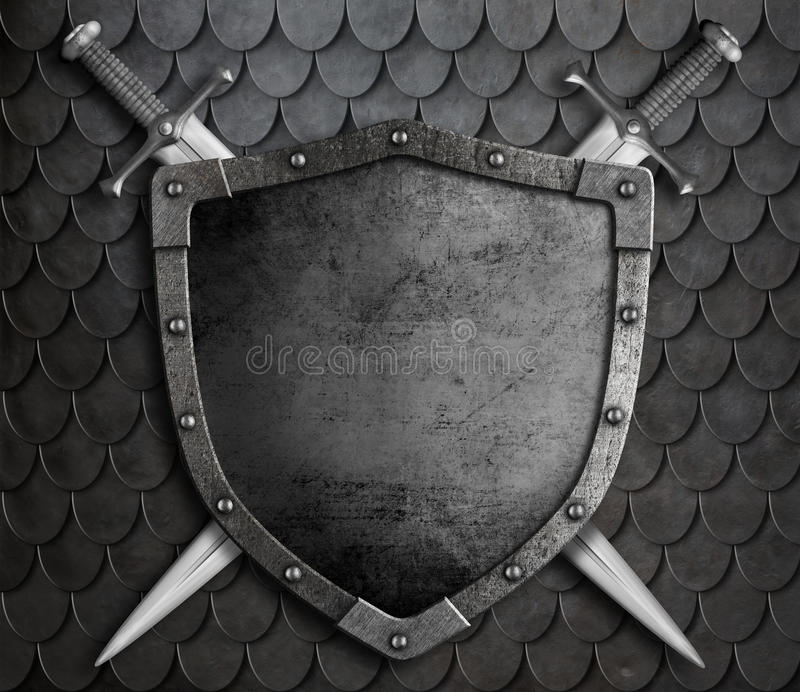 Medieval Shield With Two Crossed Swords Over Stock Photo