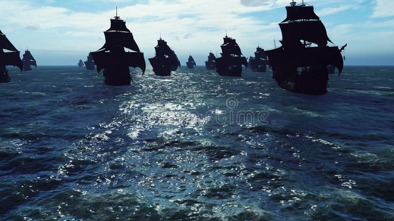 Medieval ships sail to a tropical island in the vast blue ocean. The concept of sea adventures in the Middle ages. 3D. Medieval ships sail to a tropical island royalty free stock images