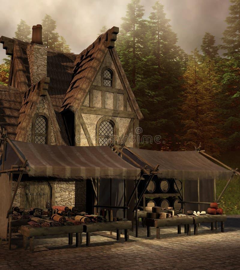 Medieval shop and market royalty free illustration