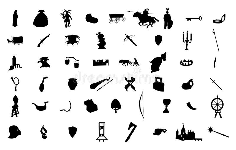 Medieval silhouettes set. On white background vector illustration