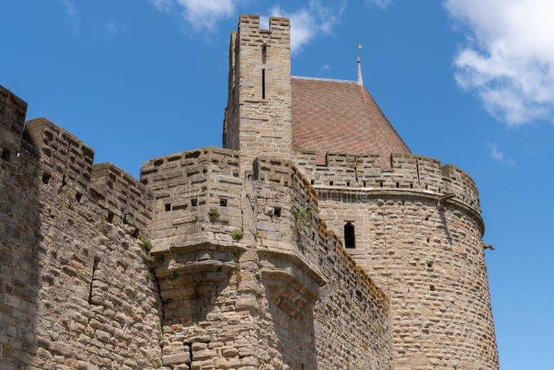 Medieval slott i Frankrike Carcassonne big fästning medeltida arkivbilder