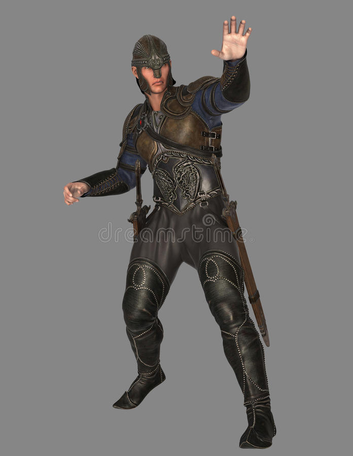 Medieval Soldier. A medieval soldier isolated on grey in 3d stock illustration