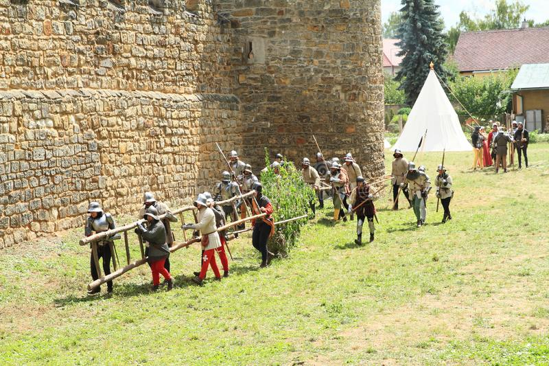 Medieval soldiers with ladder on The Battle of Budyne stock photography