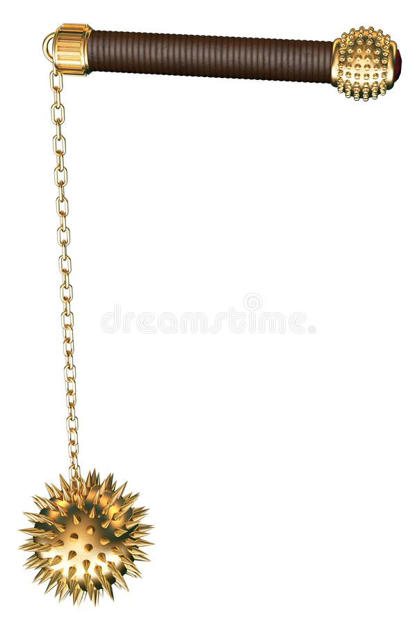 Medieval spiked mace. Mace medieval spiked ball rendered in 3d stock illustration