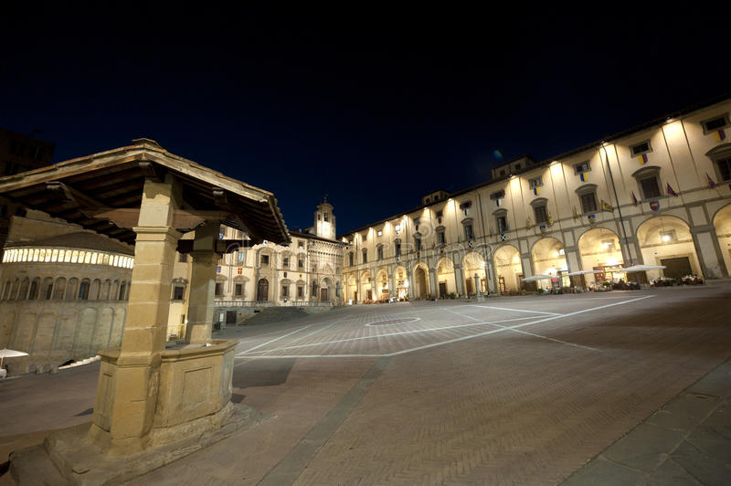 Medieval square in Arezzo (Tuscany) at night stock image