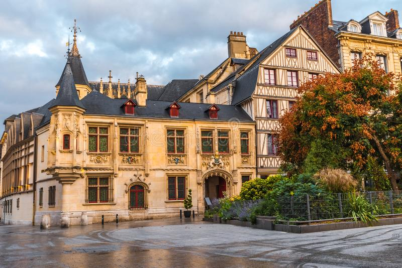 Medieval squre in old town of Rouen, Normandy, France. With nobody royalty free stock photo