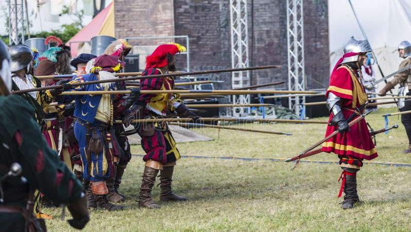 Medieval staged battle - Rievocandum 2015 stock photography