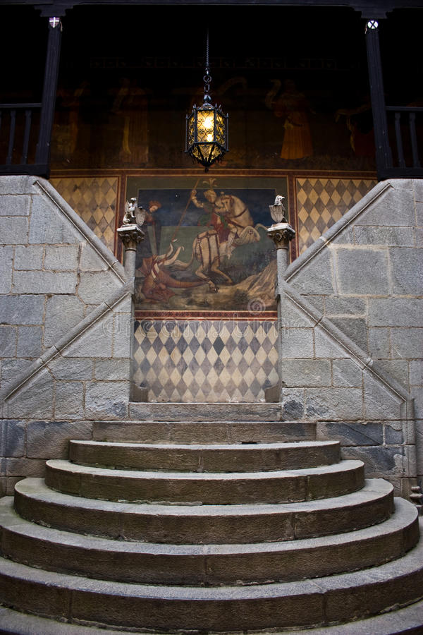Medieval staircase. In Italian castle, close to Turin, north Italy stock photography