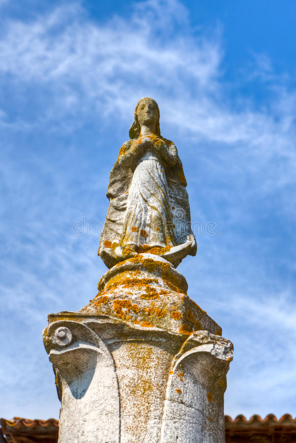 Medieval Statue Of The Holy Virgin Royalty Free Stock Image