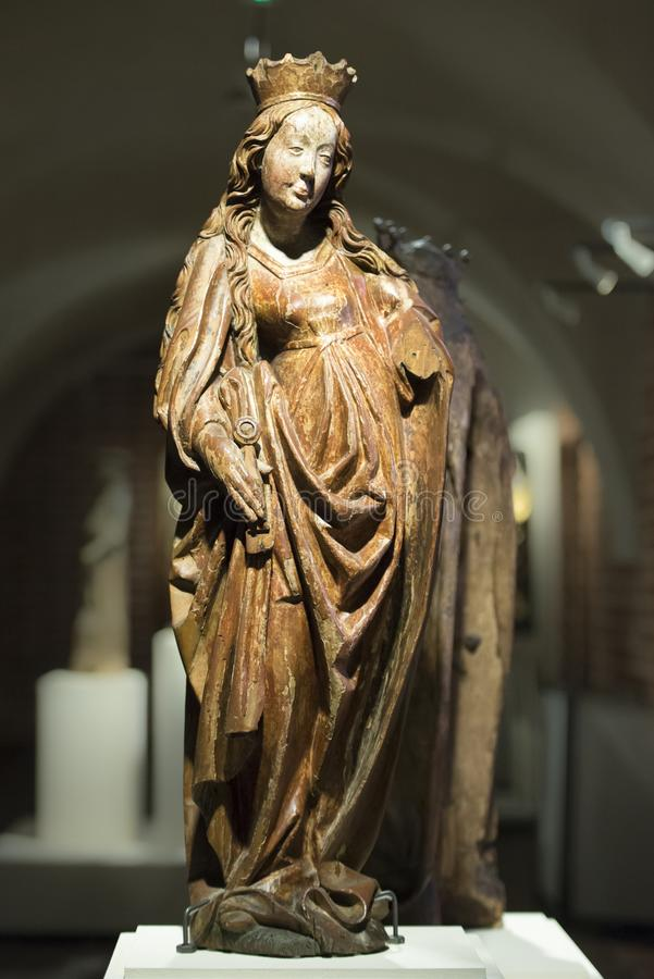 Medieval Statue of Virgin Mary in  Malbork Castle near Gdansk, Poland, Castle of the Teutonic Knights. Wooden sculpture of Holy Mary, Medieval Castle of the stock photos