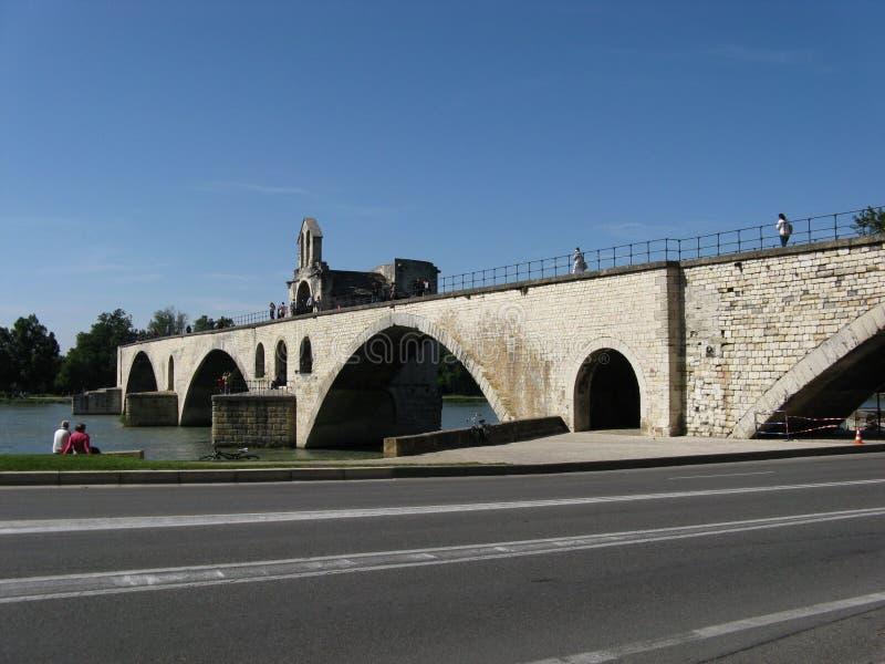Medieval stone Benezet bridge in Avignon stock image