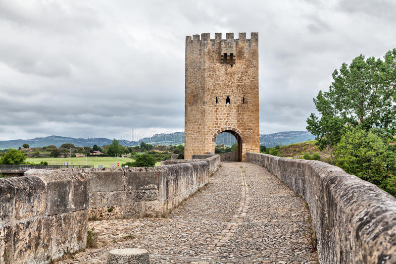 Medieval stone bridge in Frias, Spain royalty free stock photography