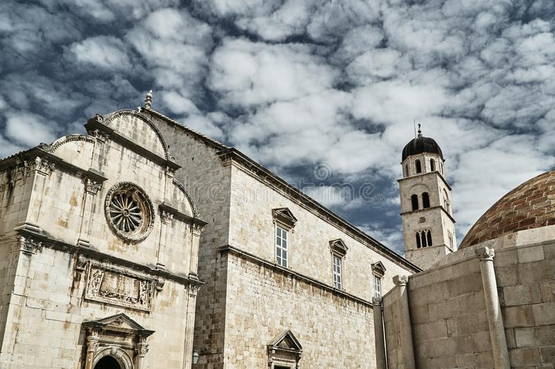 Medieval stone churches in the city of Dubrovnik stock images