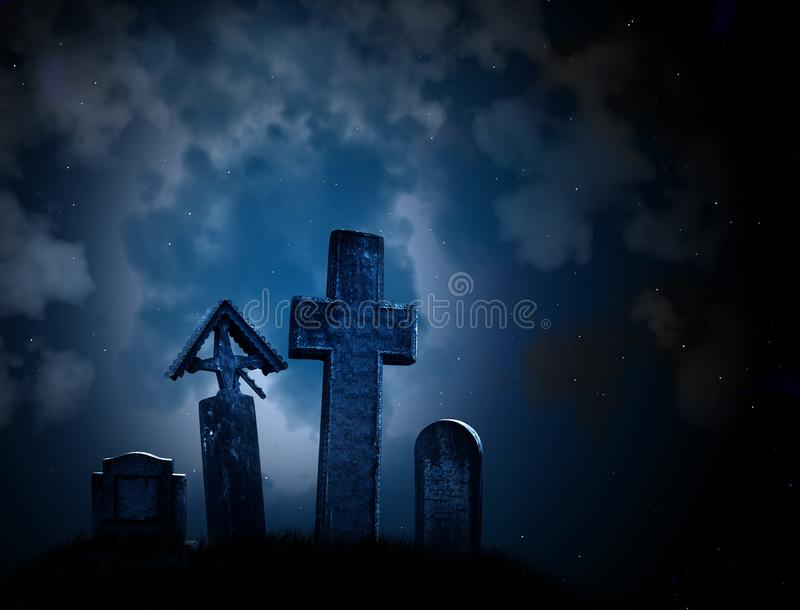 Medieval stone crosses and tombstones stock photo