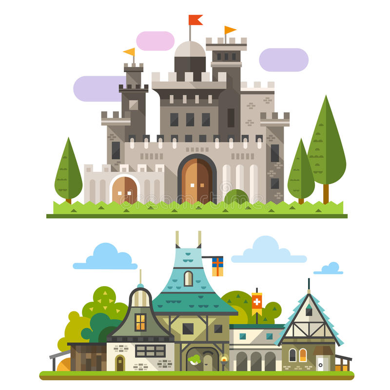 Medieval stone fortress. And old timber house landscapes. Sprites for game. Vector flat illustrations vector illustration