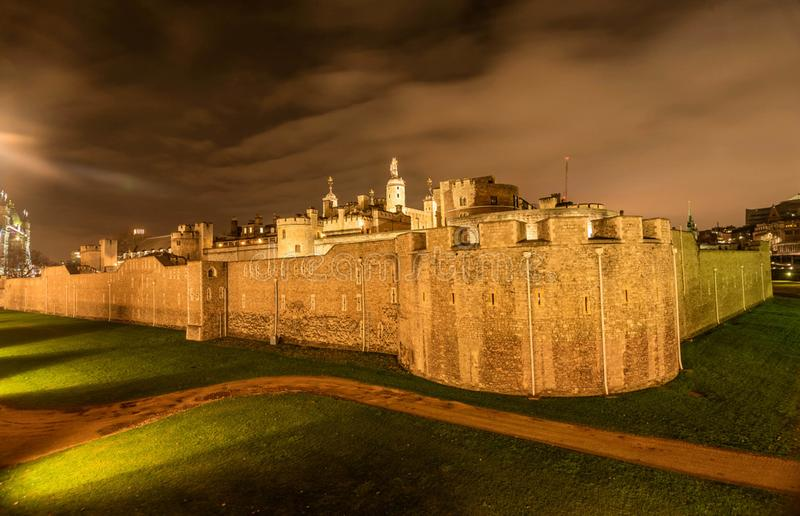Medieval Stone Tower in London at night, UK.  stock photo