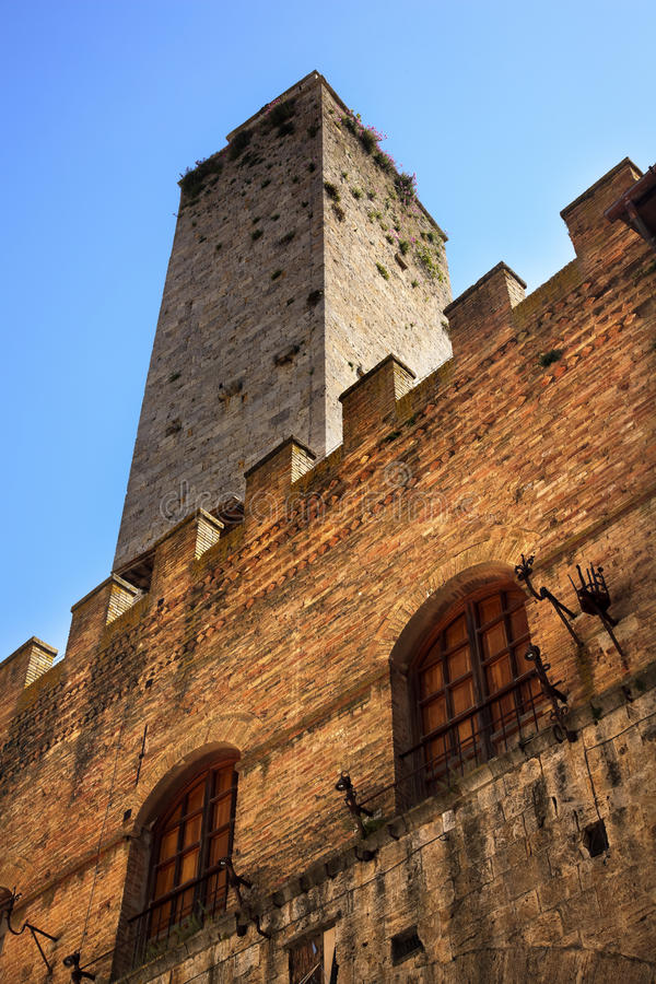 Medieval Stone Tower Town Hall San Gimignano Italy Stock Photo