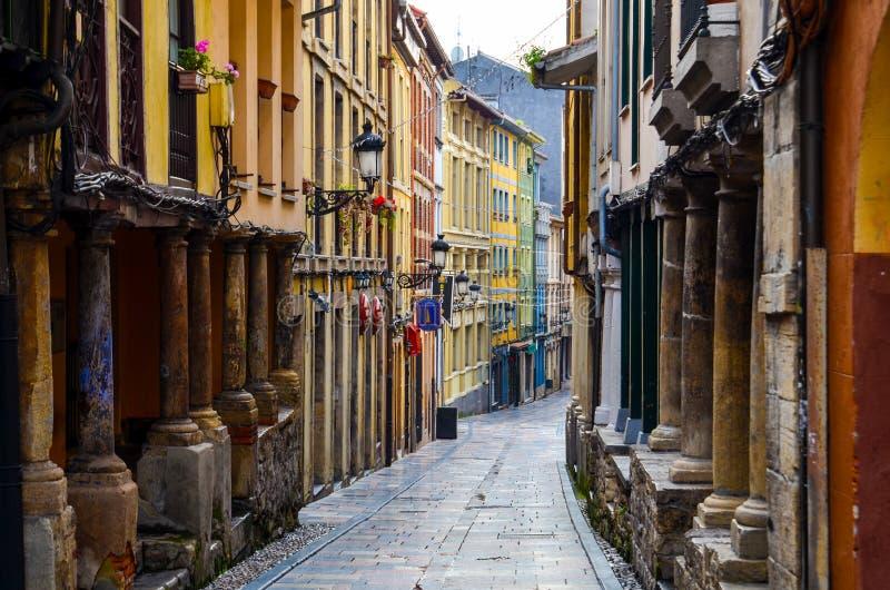 Medieval street in Aviles stock photos