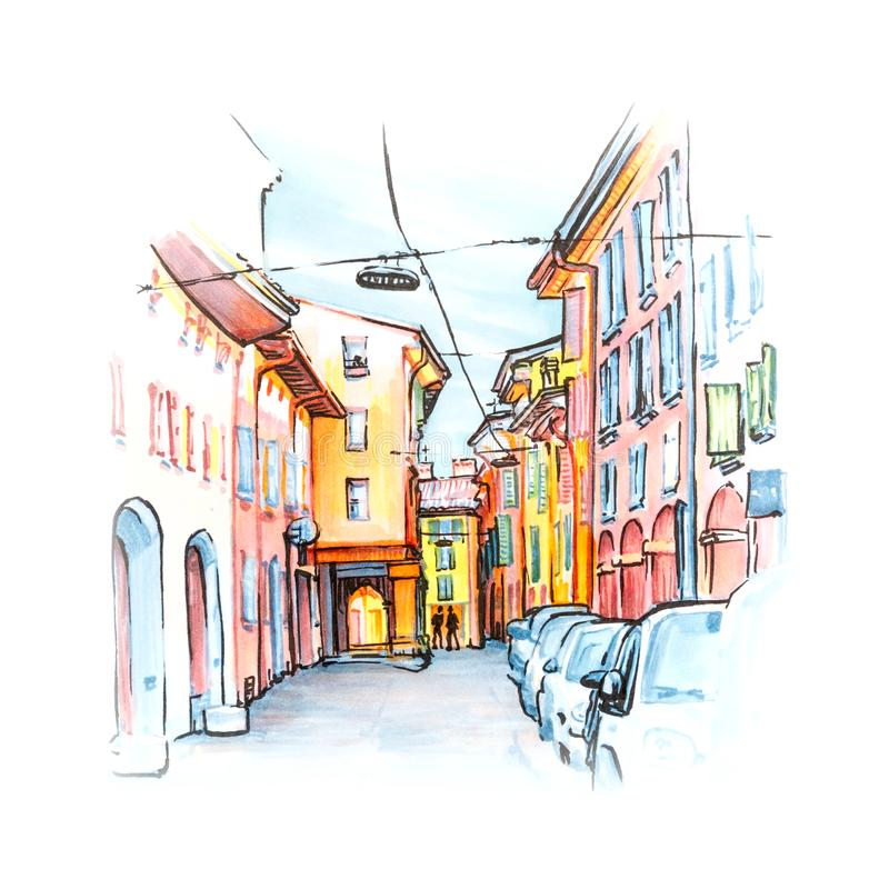 Medieval street in Bologna, Italy. Sketch. Medieval street portico with bright colored houses in the Old Town in the sunny day, Bologna, Emilia-Romagna, Italy stock illustration