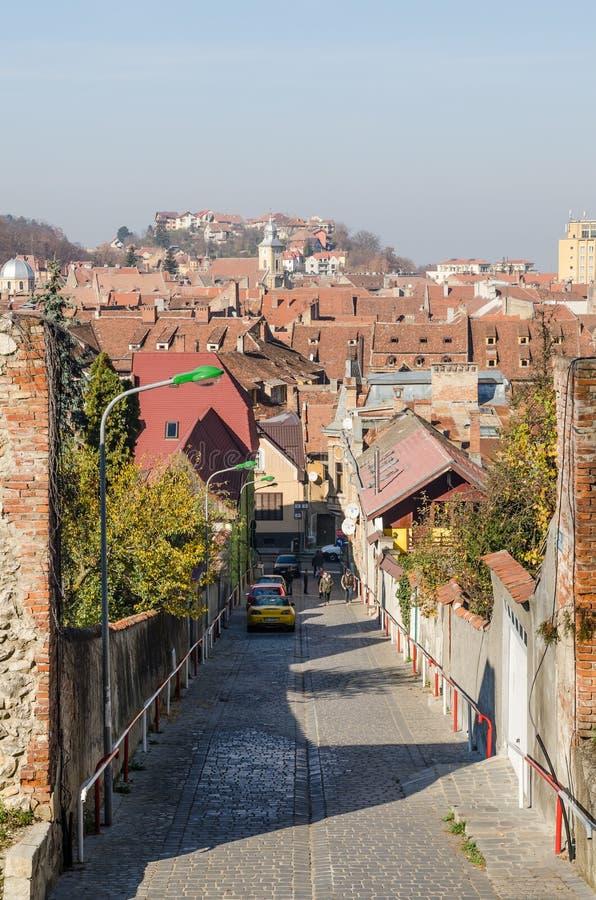 Medieval Street In Brasov royalty free stock images