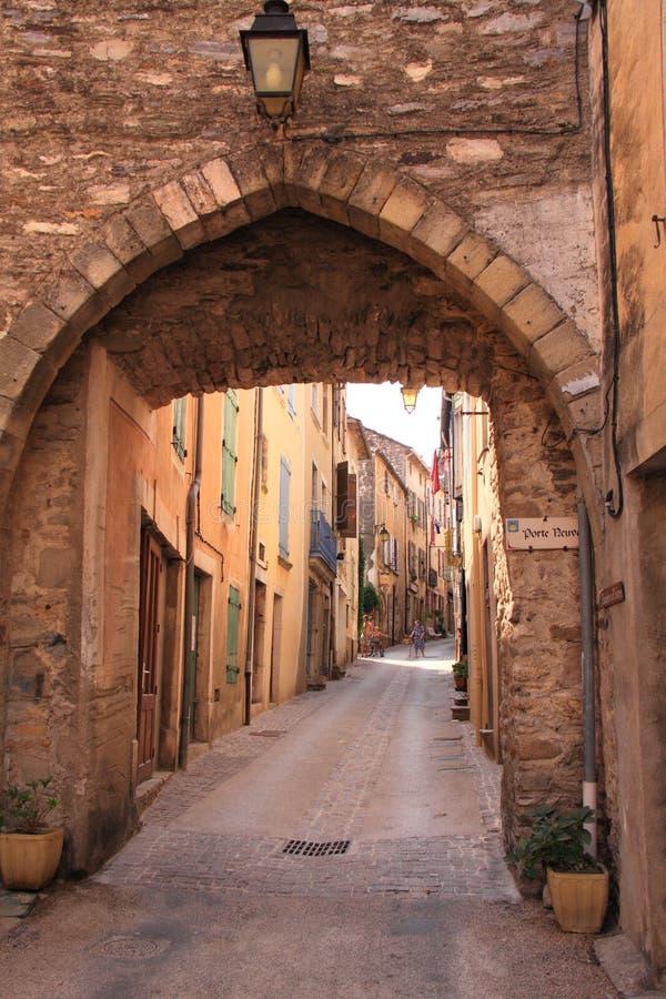 Medieval street in France stock photo