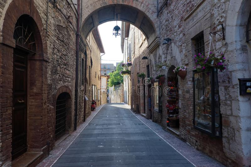 Medieval street in the Italian hill town of Assisi. The traditional italian medieval historic center in Umbria. Italy stock image