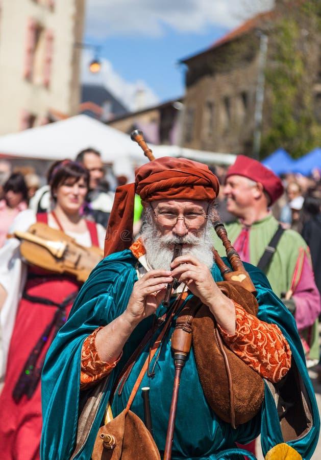 Medieval Street Piper stock photo