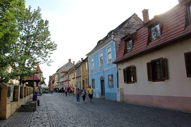 Medieval street in Sibiu: Cetatii Street stock image