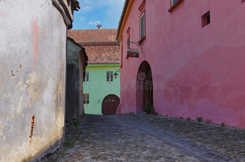 Medieval street in Sighisoara, Romania stock photography