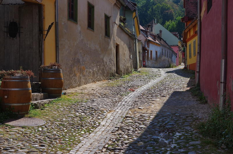 Medieval street in Sighisoara, Romania royalty free stock photography