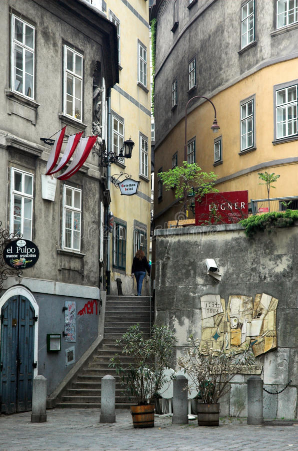 Medieval Street, Vienna stock images