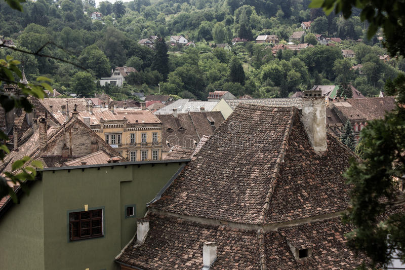Medieval street view in Sighisoara citadel ,Romania royalty free stock images