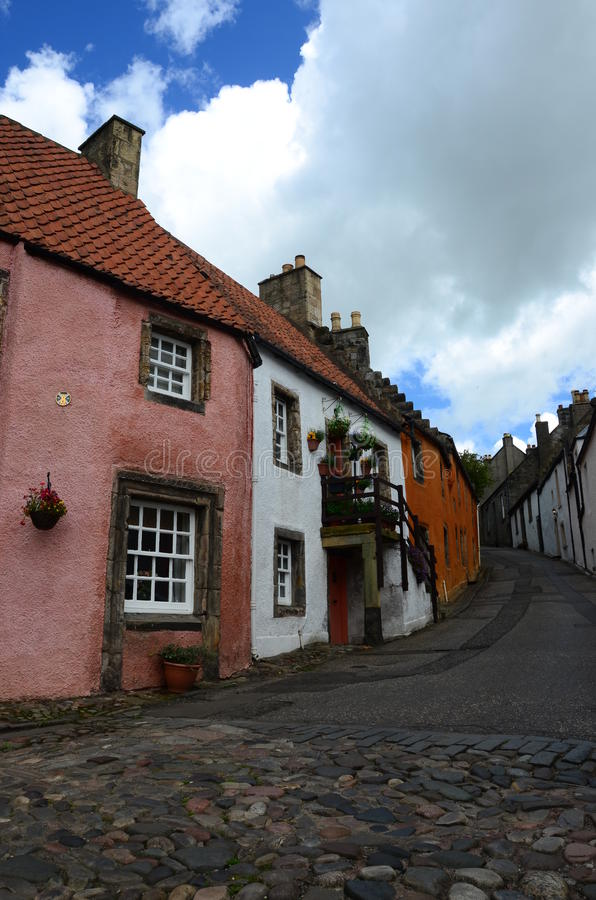 Medieval street. A view up a narrow street in the medieval Royal burgh of Culross stock photography
