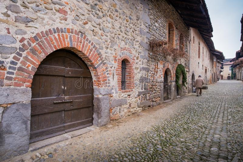 Biella, Piedmont - Italy. Medieval streets of the ancient village in Ricetto of Candelo, Biella province, Piedmont, Italy royalty free stock images