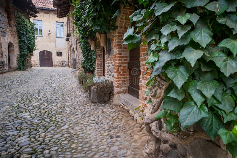 Biella, Piedmont - Italy. Medieval streets of the ancient village in Ricetto of Candelo, Biella province, Piedmont, Italy stock image