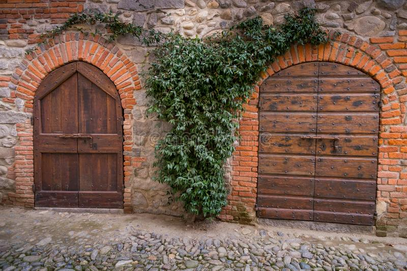 Biella, Piedmont - Italy. Medieval streets of the ancient village in Ricetto of Candelo, Biella province, Piedmont, Italy royalty free stock photos