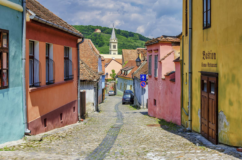 Medieval streets with colorful houses in Sighisoara stock images