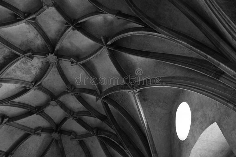 Medieval style ceiling with beautiful spiralling ornaments in black and white stock images