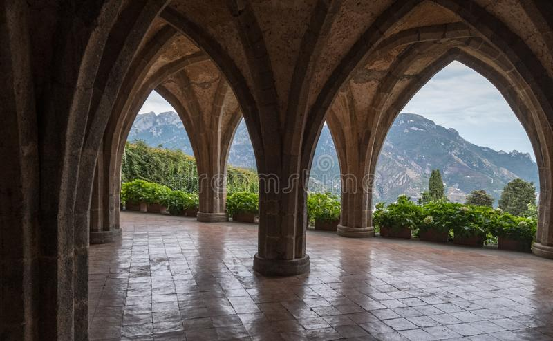 Medieval style Crypt with view of Amalfi Coast at the Gardens of Villa Cimbrone, Ravello on the Amalfi Coast in Southern Italy. royalty free stock image