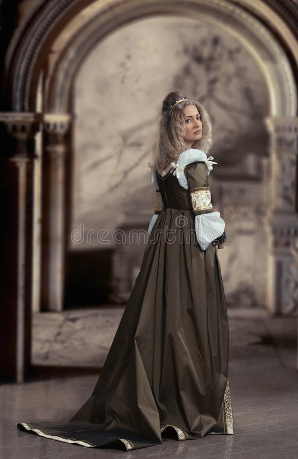 Medieval style female portrait royalty free stock image