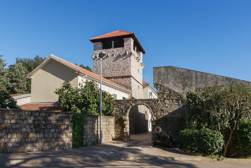 Medieval summer house of the Buca family. Tivat. Montenegro royalty free stock images