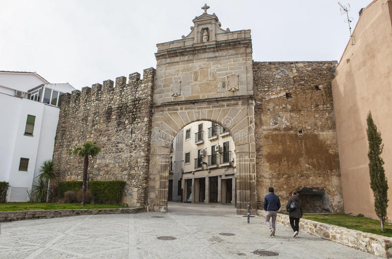Medieval Sun Door, Puerta de Sol, Caceres, Extremadura, Spain, E royalty free stock images