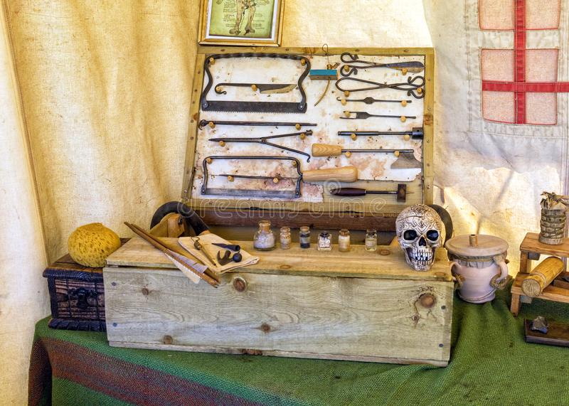 Medieval Surgeons Tools. stock images