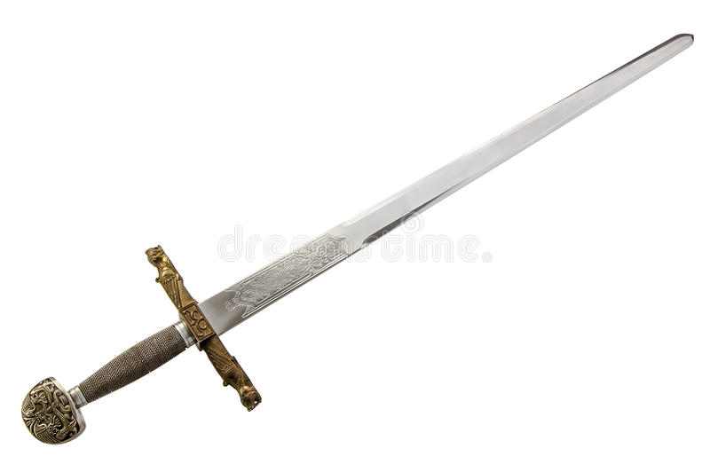 Medieval sword. Long sword isolated on white background