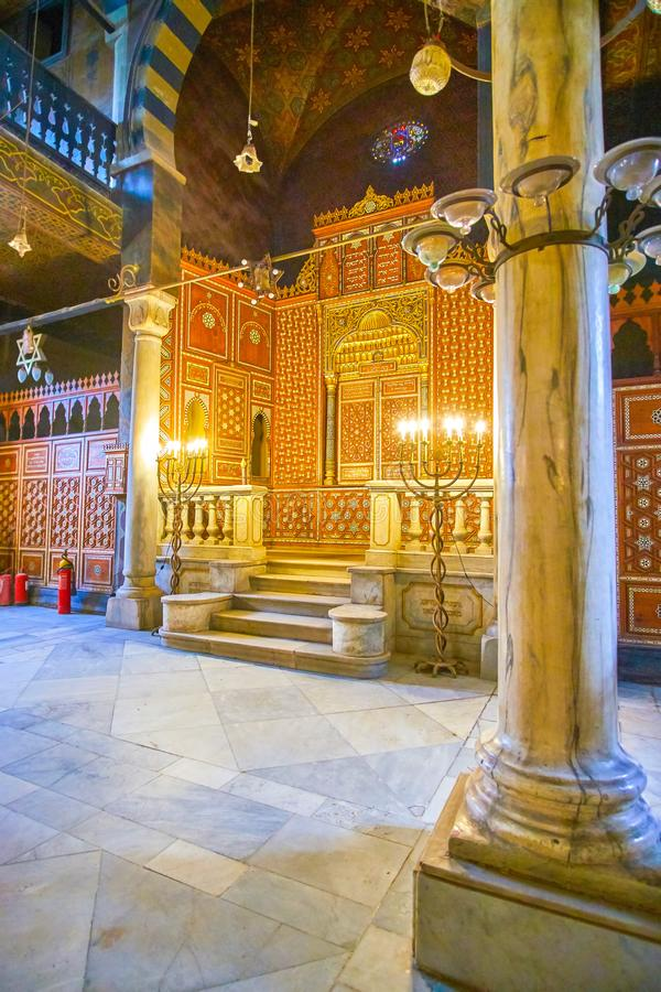 The medieval synagogue in Coptic Cairo, Egypt. CAIRO, EGYPT - DECEMBER 23, 2017: The interior of old Ben Ezra Synagogue is a masterpiece of medieval Jewish stock photo