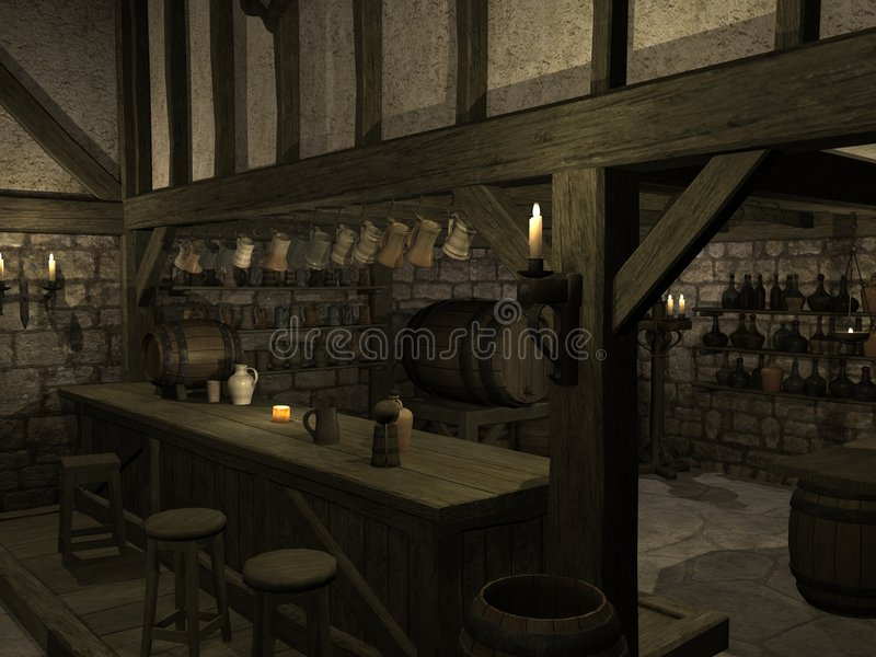 Download Medieval Tavern stock illustration. Image of tiles, clouds - 6891571