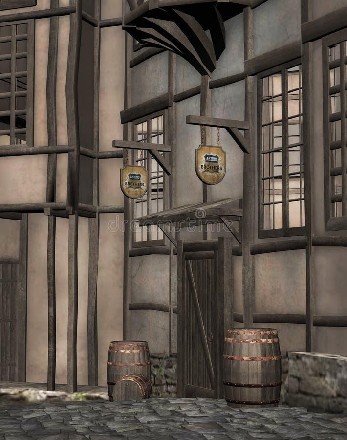 Medieval tavern. A 3D rendered image of a medieval tavern entrance vector illustration