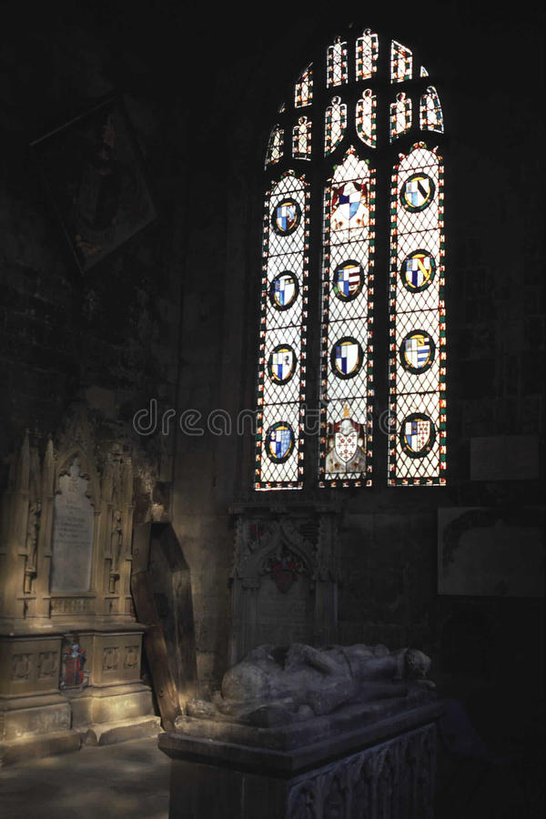 Medieval Templar Church - Interior. Interior of a Medieval Templar Church in England, UK. Build for the knights of Templar, Note the sarcophagus, tomb and casket stock image
